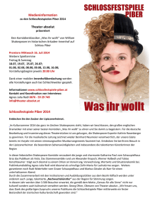 Medieninformation Theater absolut Schlossfestspiele Piber 2014
