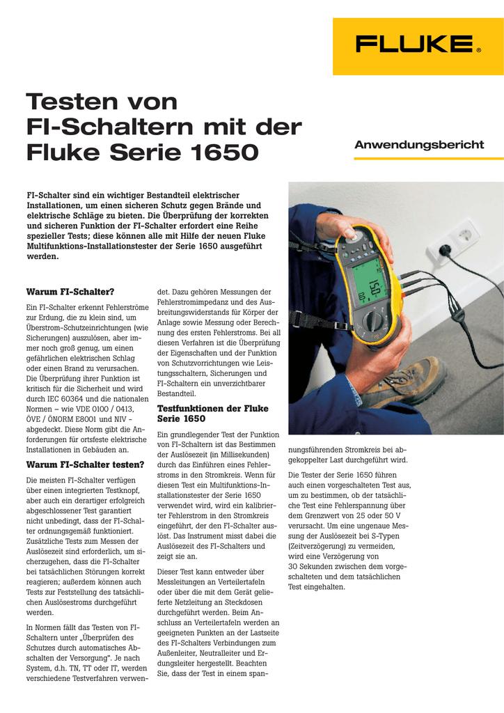 Testen von FI-Schaltern mit der Fluke Serie 1650