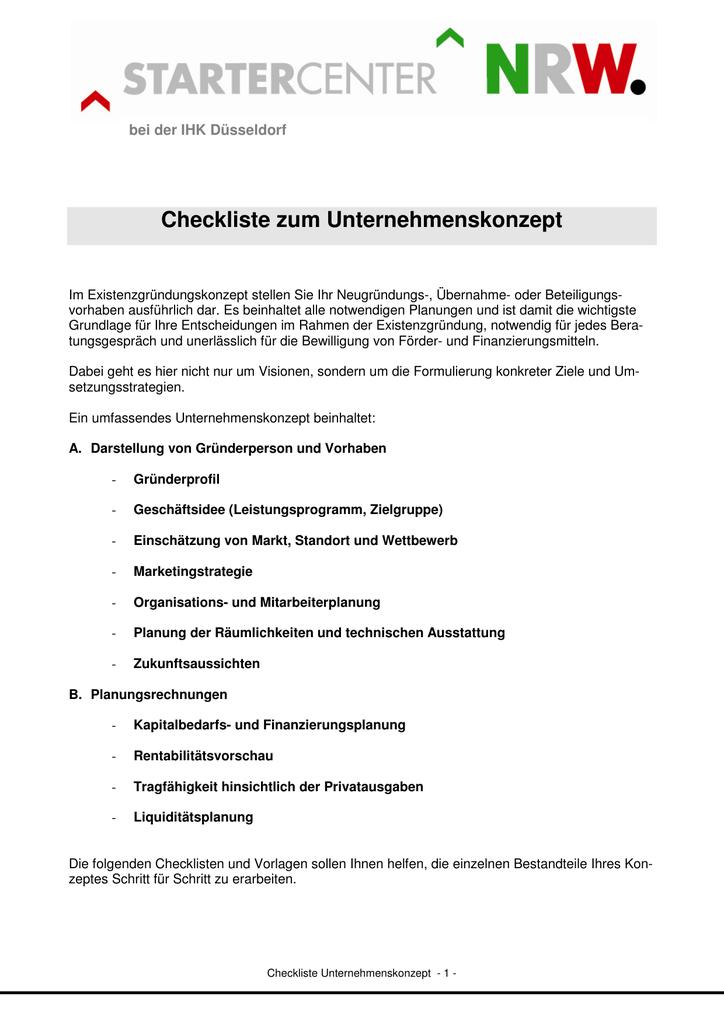 Checkliste zum Unternehmenskonzept