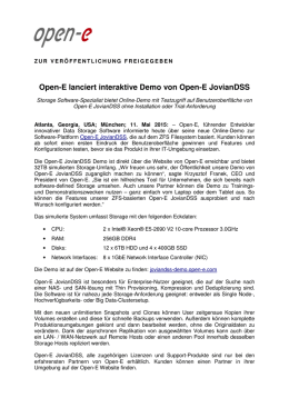 Open-E lanciert interaktive Demo von Open