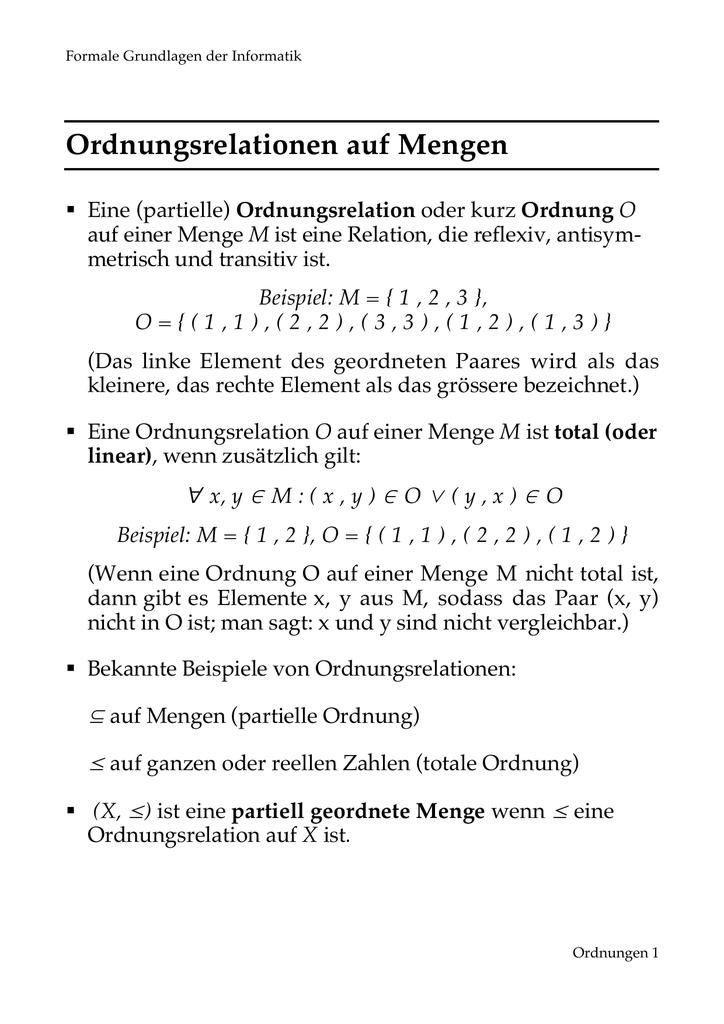 ordnung kleinstes element antisymmetrie