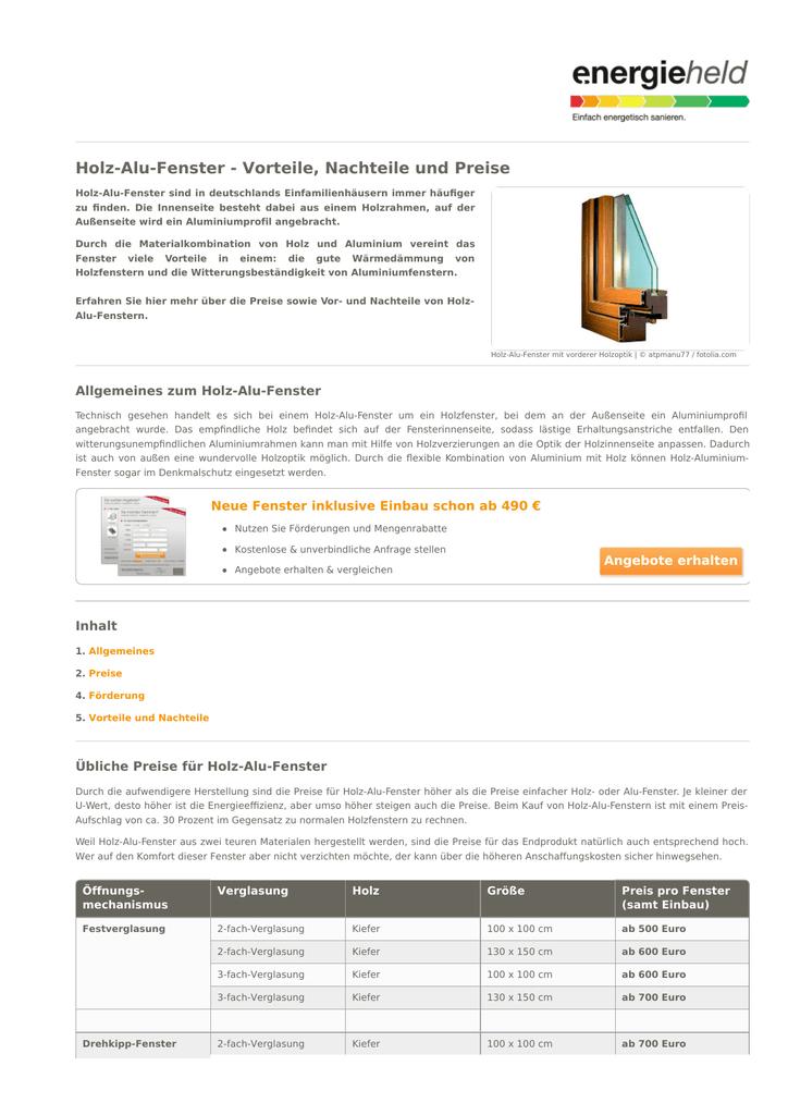Holz-Alu-Fenster - Vorteile, Nachteile und Preise