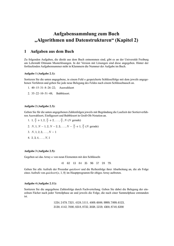 Aufgaben ohne Lösungen - Lehrstuhl Algorithmen