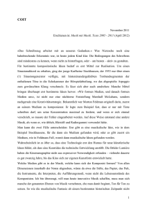 1 November 2011 Erschienen in: Musik mit Musik. Texte 2005