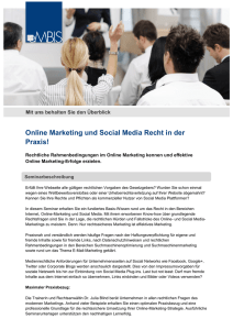 Online Marketing und Social Media Recht in der Praxis!