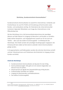 "Workshop ""Kundenorientierte Kommunikation"""
