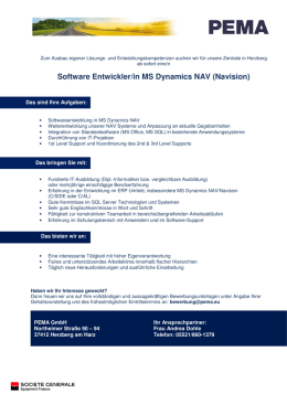 Software Entwickler-in MS Dynamics NAV _Navision_2016 2