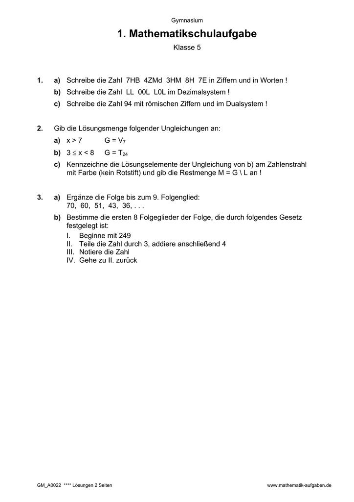1. Mathematikschulaufgabe - mathe-physik