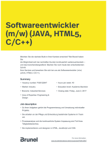Softwareentwickler (m/w) (JAVA, HTML5, C/C++)