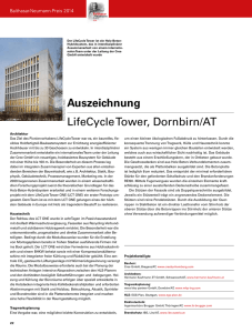 Auszeichnung LifeCycle Tower - EGS-Plan