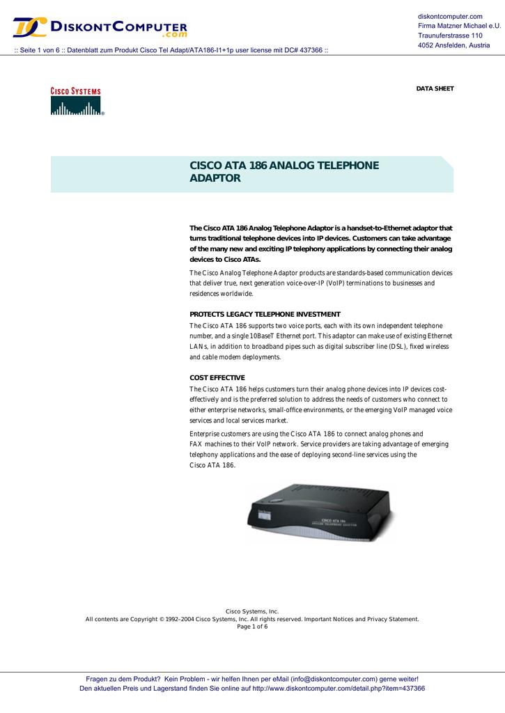 cisco ata 186 analog telephone adaptor
