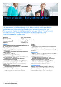 Head of Sales - Switzerland Market