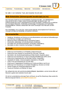 Web-Entwickler (Schwerpunkt JavaScript) (w/m) - IT