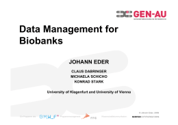 Data Management for Biobanks