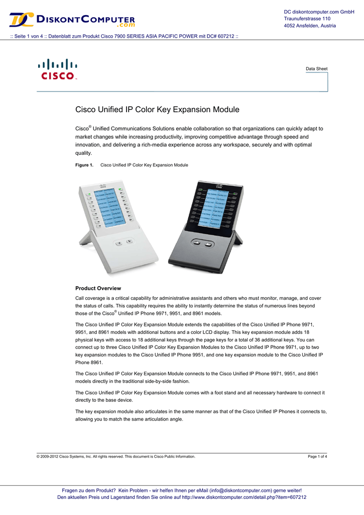 Cisco Unified IP Color Key Expansion Module
