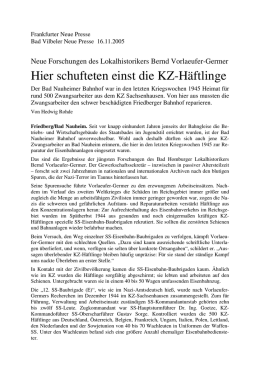 KZ-Häftlinge in Bad Nauheim und Friedberg