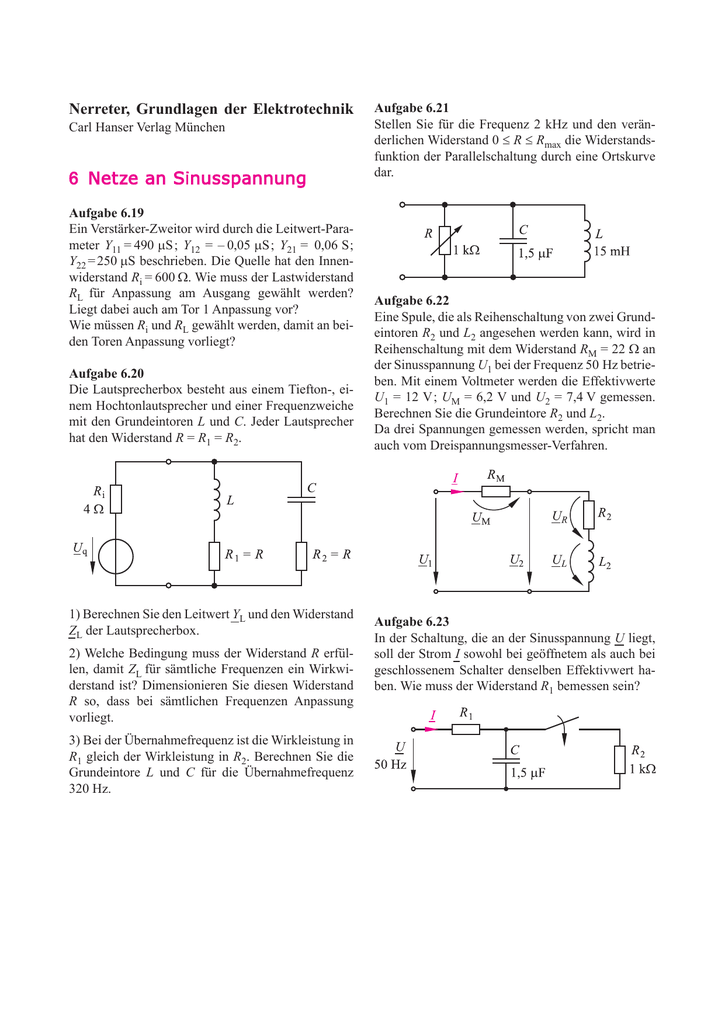 6 Netze an Sinusspannung - Grundlagen der Elektrotechnik