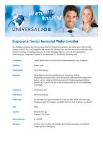 Engagierter Senior Javascript Webentwickler - Universal-Job