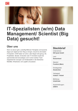 IT-Spezialisten (w/m) Data Management/ Scientist (Big