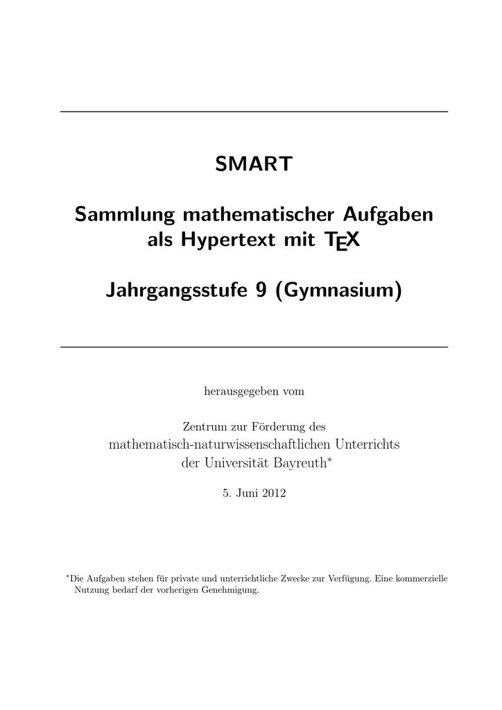 SMART Sammlung mathematischer Aufgaben als Hypertext mit TEX