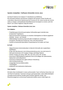 System-Analytiker / Software-Entwickler (m/w) Java