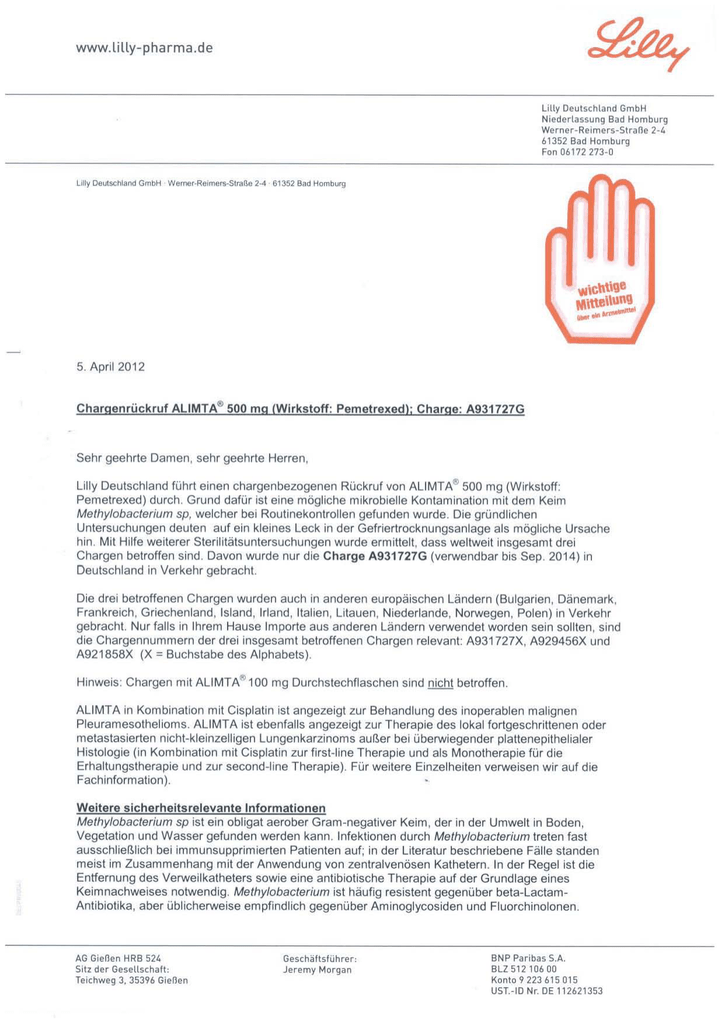 Rote Hand Brief Zu Alimta Pemetrexed
