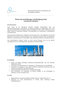 Senior Account Manager Lohnfertigung (m/w) - chemische Industrie -