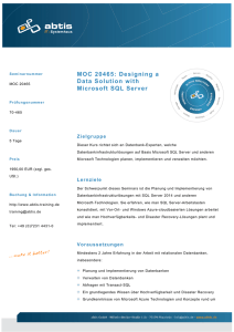 MOC 20465: Designing a Data Solution with Microsoft SQL Server