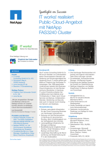 IT works! realisiert Public-Cloud-Angebot mit NetApp FAS3240 Cluster