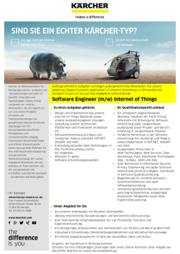 Software Engineer (m/w) Internet of Things - kaercher