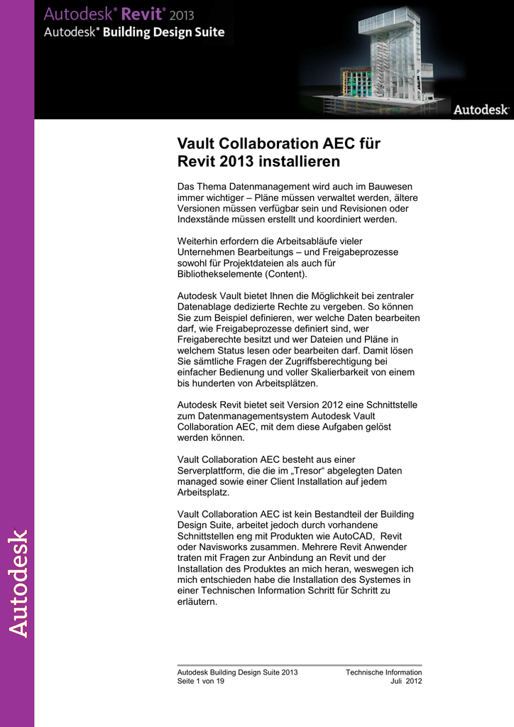 Vault Collaboration AEC für Revit 2013 installieren