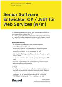 Senior Software Entwickler C# / .NET für Web Services (w/m)