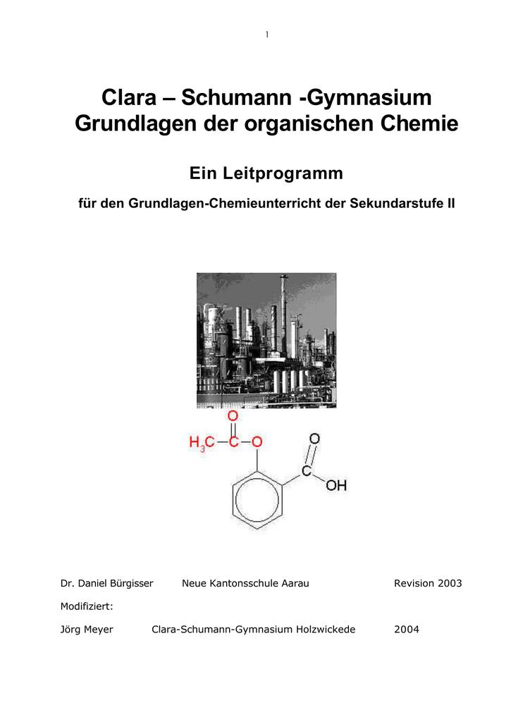 Grundlagen Der Organischen Chemie Clara Schumann