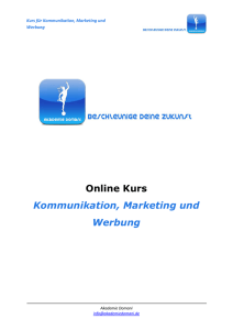 Online Kurs Kommunikation, Marketing und Werbung