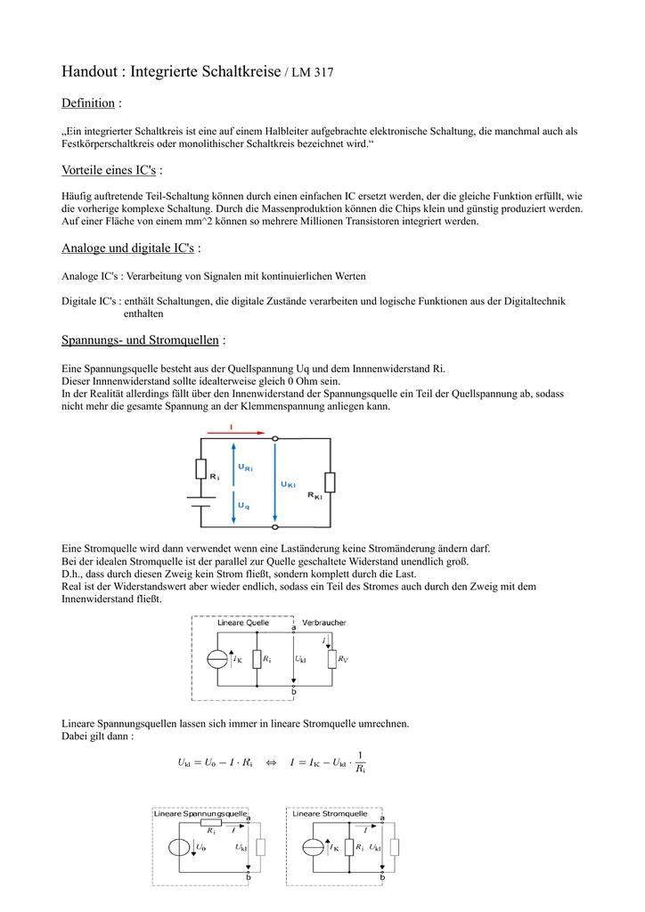 Handout : Integrierte Schaltkreise / LM 317