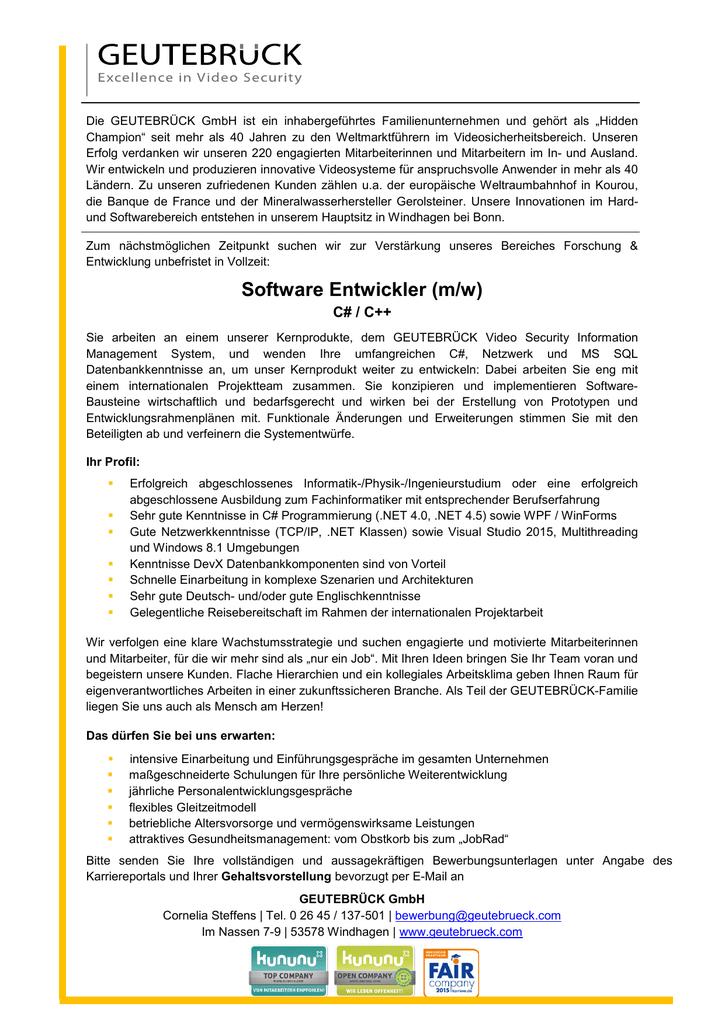 Software Entwickler (m/w)