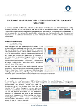 AT Internet Innovationen 2014 – Dashboards und API der neuen