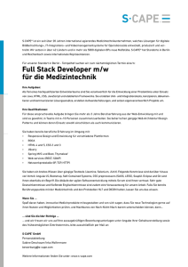 Full Stack Developer m/w für die Medizintechnik