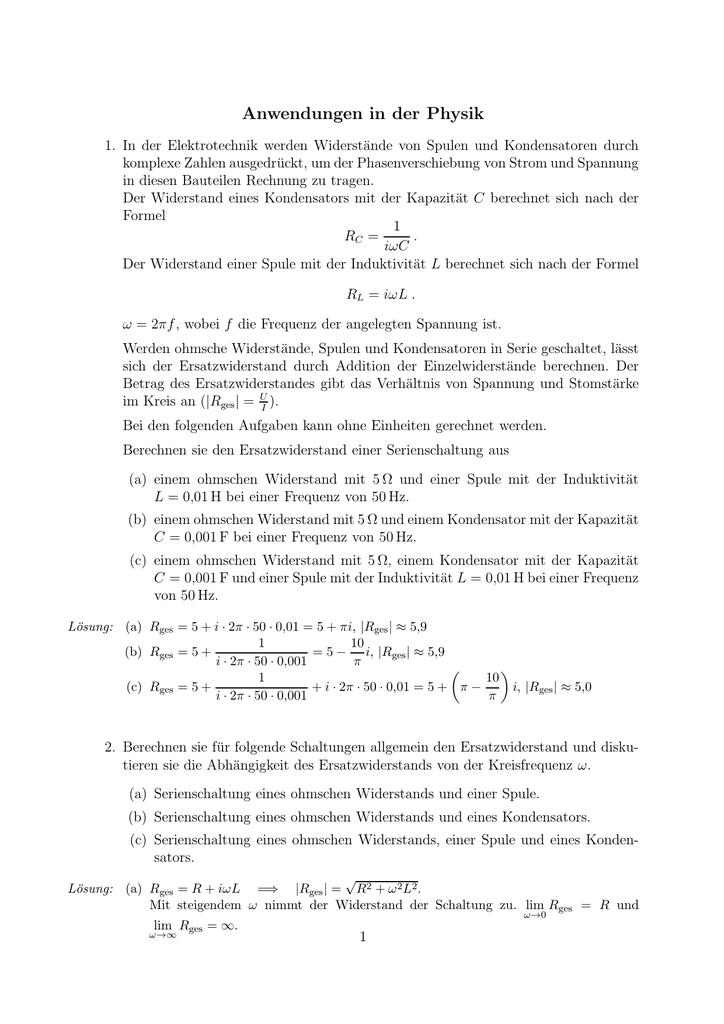 Anwendungen in der Physik