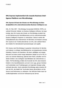 DHL Express implementiert die neueste Business Intel