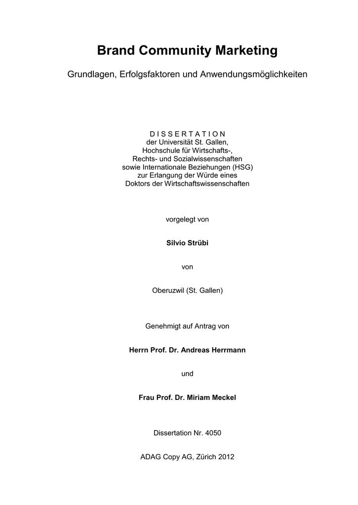 Vorlage Dissertation Universität Stgallen