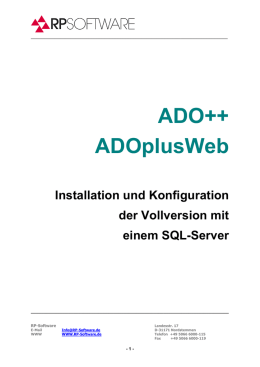Installationsanleitung der Vollversion mit SQL