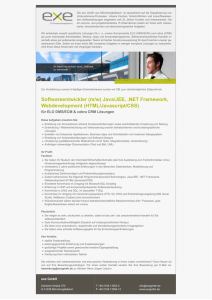 Softwareentwickler (m/w) Java/JEE, .NET Framework, Webdevelopment