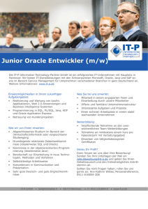 Junior Oracle Entwickler (m/w) - IT