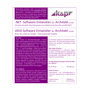 NET Software Entwickler u. Architekt JAVA Software Entwickler u