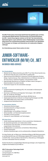 junior-software- entwickler (m/w) c#, .net