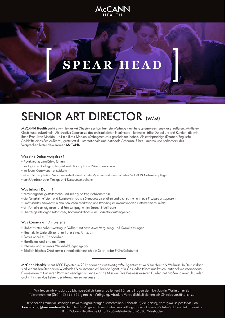 Senior Art Director Wm Spear Head