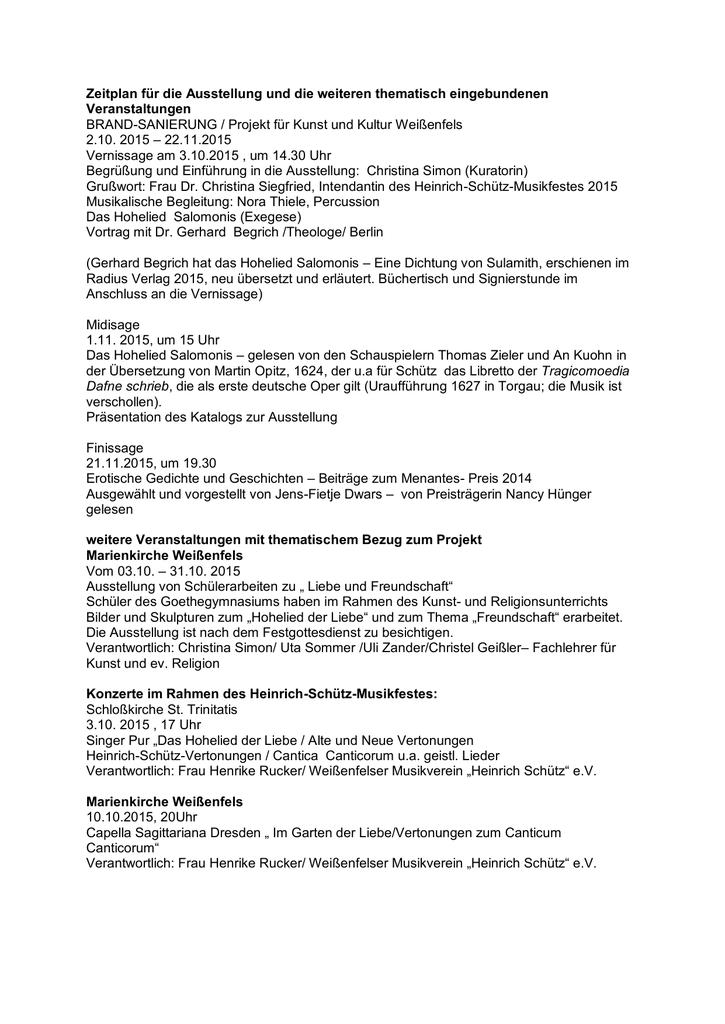 Zeitplan Für Die Ausstellung Und Die Weiteren Thematisch