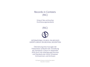 Records in Contexts (RiC) (RiC) - VSA-AAS