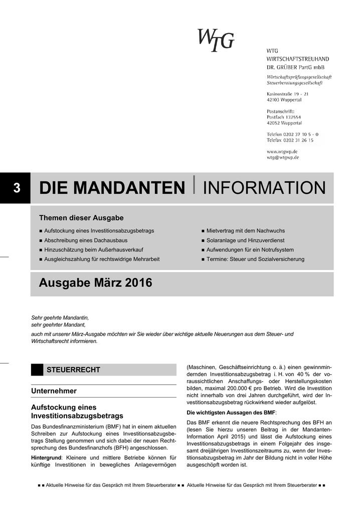 3 Die Mandanten Iinformation